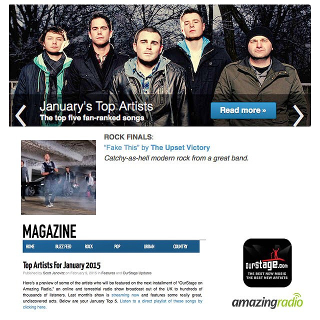 "Our single ""Fake This"" was #1 for the month of January on Our Stage. As a result, our track ""will be featured on the next installment of 'OurStage on Amazing Radio', an online and terrestrial radio show broadcast out of the UK to hundreds of thousands of listeners""! If you're a music fan and haven't checked out Our Stage or Amazing Radio we highly recommend it. Lots of cool artists were played first via these two great outlets. Huge thank you to Our Stage and Amazing Radio for the opportunity."