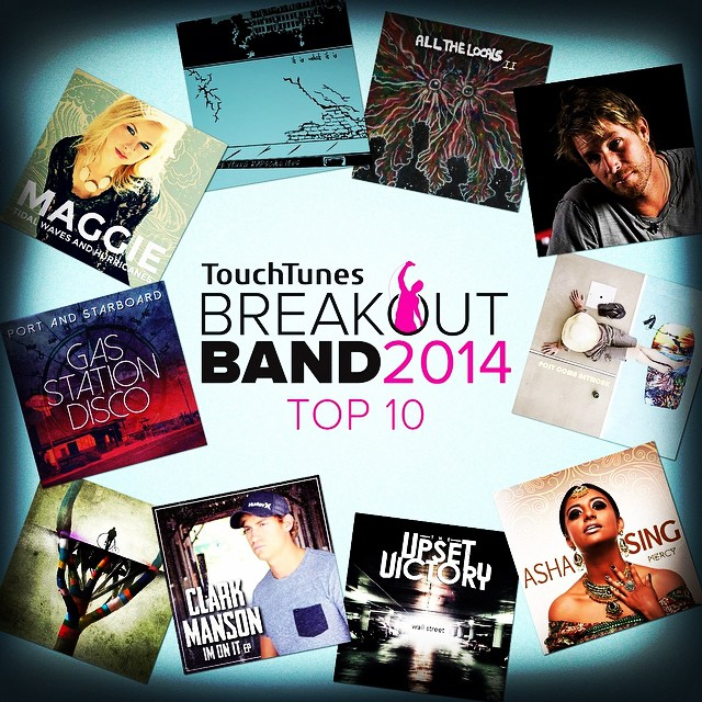 Stoked to be nominated! BREAKOUT BAND NEWS:  touchtunes  TOP 10 2014 #BreakoutBand Finalists have been announced! Check them out here: www.touchtunes.com/breakoutband Keep spinning the TUV catalogue on TouchTunes jukeboxes!