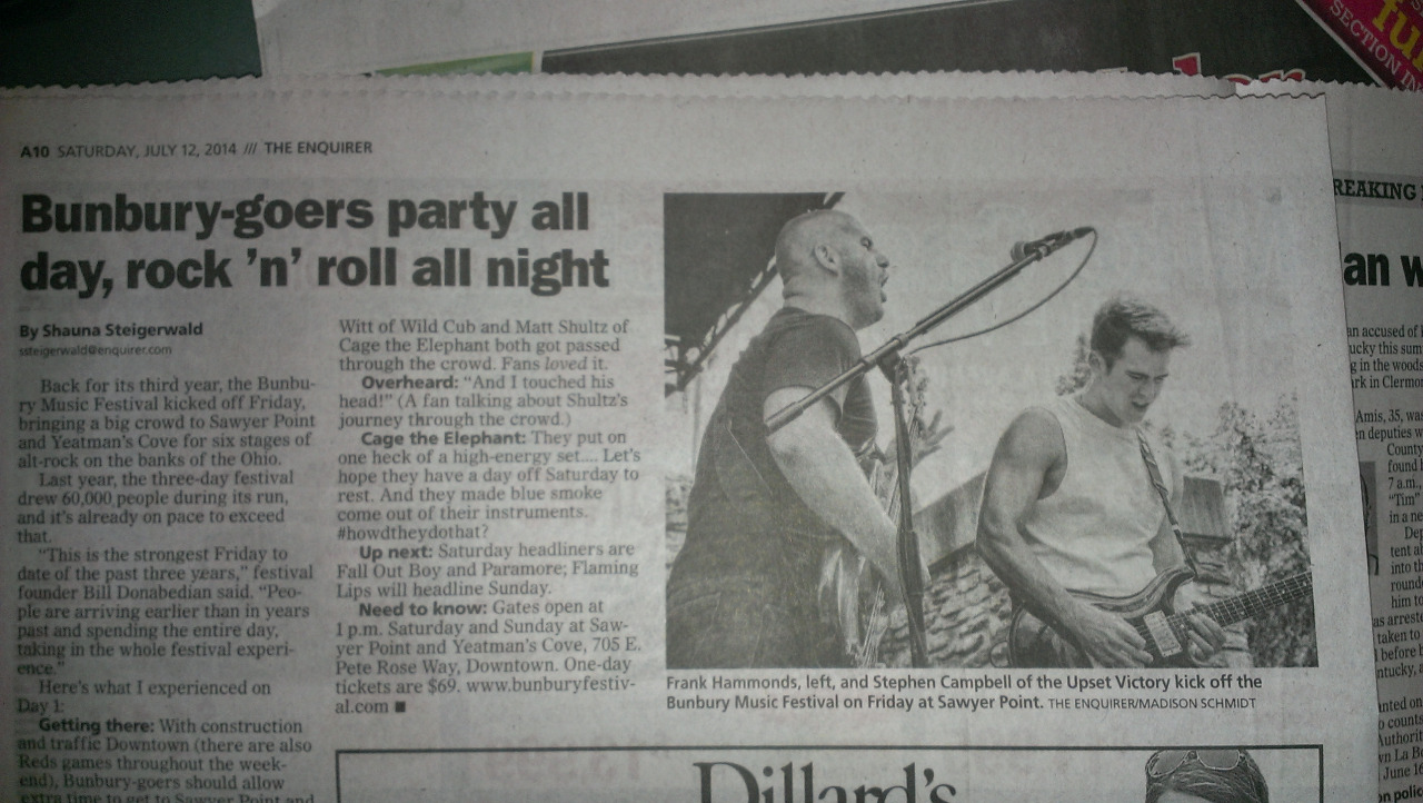Our friends tipped us off to some hometown love we received in this past week's newspaper [ Enquirer - Cincinnati and Kentucky ]. If you snagged a copy you probably saw our mugs in the feature. Proud to call Cincy our hometown.  Be sure to ch eck out the full feature including more photo highlights here:  http://www.cincinnati.com/picture-gallery/entertainment/music/2014/07/11/bunbury-music-festival-2014-day-1/12551673/    http://www.cincinnati.com/story/entertainment/music/2014/07/14/bunbury-music-festival-2014-8-reasons-why-bunbury-rocked/12613199/   Many thanks to The Enquirer for the feature!