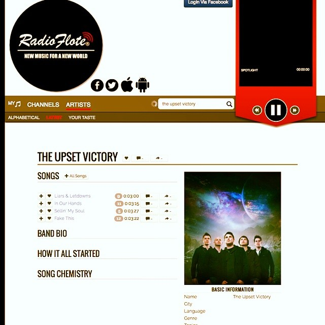 Radio Flote has been spinning our 'Wall Street' EP and we truly appreciate it.   Head over to  http://radioflote.com/band/the-upset-victory  to check out this great music resource/app!