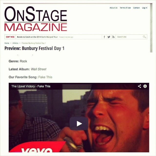 Check out Onstage Magazine's Day 1  bunburyfestival  preview featuring yours truly!   Remember we play 7/11 at 2PM on the Amphitheater Stage.    http://www.onstagemagazine.com/preview-bunbury-festival-day-1/     vevo