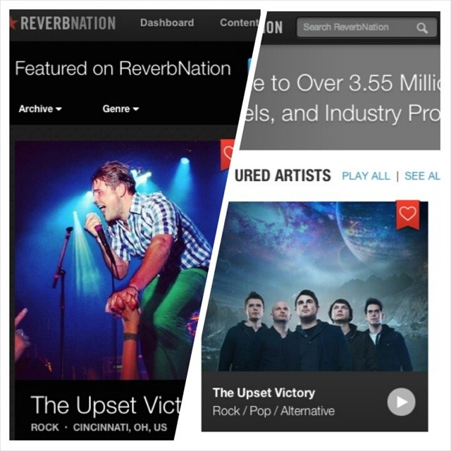"Good morning friends! Reverbnation has featured TUV as an 'Artist You Should Hear'! We're also a ""trending artist"" & currently in the Top 10 standings. ReverbNation is an awesome way to discover some great new artists. Check out the feature below for all kinds of cool content!    http://www.reverbnation.com/main/featured_on/2014_5_20/theupsetvictory"