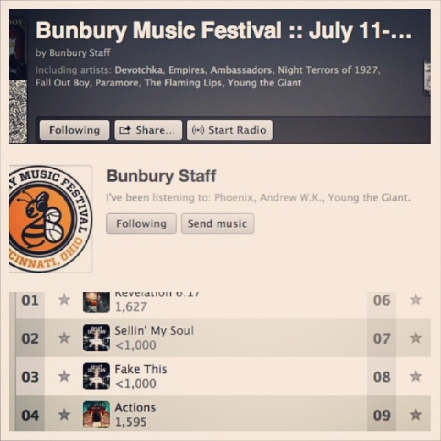 "Have you listened to the Official Bunbury Music Festival Playlist on Spotify yet? Our song, ""Sellin' My Soul"", has been added alongside a ton of other great songs/artists. Check it out! And, be sure to follow Bunbury Festival & The Upset Victory on Spotify -  http://sptfy.com/3en  (TUV) -  http://sptfy.com/3ep  (Bunbury)    spotify   bunburyfestival"