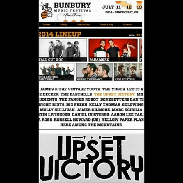 A special announcement coming your way today friends…TUV is playing Bunbury Festival 2014 on 7/11! Honored & excited to be playing with some amazing bands. More details coming - stay tuned!    Tickets: http://bunburyfestival.com/tickets   For more information: www.bunburyfestival.com