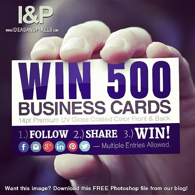 ideasandpixels: Contest Alert! Like, Share, & Comment for a change to WIN 500 FREE business cards! We're running the contest all month long. http://ideasandpixels.com/man-holding-a-blank-business-card-free-download Be sure to use the hash tag: #ideasandpixelscontest
