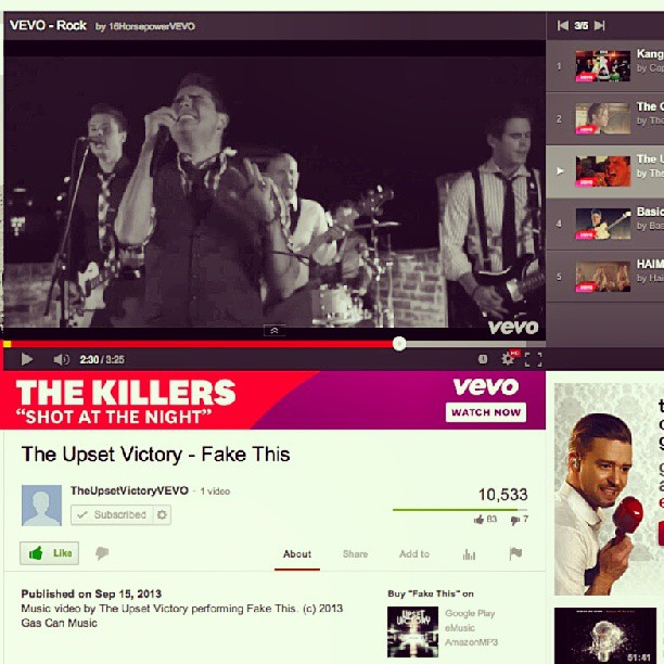 "Holy crap! 10,500+ views & counting in the first few hours. Thank you to everyone who has checked out our music video for ""Fake This"" . And, a huge thank you to @VEVO for having TUV be apart of their ""Featured - VEVO  - Rock Playlist""!    Check it out here:  http://goo.gl/GMCajr     #fakethis #vevo #feature #rock #pop #playlist #music #bands #musicians #wallstreet #theupsetvictory #fans #cincymusic #thisisotr #cincinnati #ohio #youtube #musicvideo #gascan #emusic #amazon #googleplay @muellezp @pureriphery"
