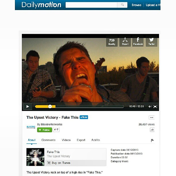 "Our third music video, for our single ""Fake This"", is putting out some big numbers - 20,000+ views & counting! Thank you to everyone that has taken the time to check it out, our fans & friends, & the people at the Blastro Networks -Roxwel & Dailymotion. We thank you all for the love & support!   @BlastroINC @roxwelrocks #musicvideo #single #fakethis #wallstreet #music #band #rock #pop #views #dailymotion #youtube #video #plays #fans #friends #love #support #singer #guitarist #theupsetvictory #musicians #bands #downtown #Cincinnati #ohio #rooftop #blastro #networks #roxwel #thisisotr #mainstreet #iTunes #media #videosharing #Paris"