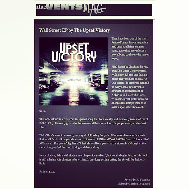 The great people at Vents Magazine (Dominican Republic) had some amazing things to say about our newest release 'Wall Street'.     Click below to read the full review:    http://ventsmagazine.com/wall-street-ep-by-the-upset-victory     #ventsmag #vents #magazine #feature #review #article #theupsetvictory #wallstreet #EP #album #studio #release #rock #pop #santodomingo #dominicanrepublic #bands #DIY #musicians #musicbiz #indieartist #guitarist #singer #drummer #bassist