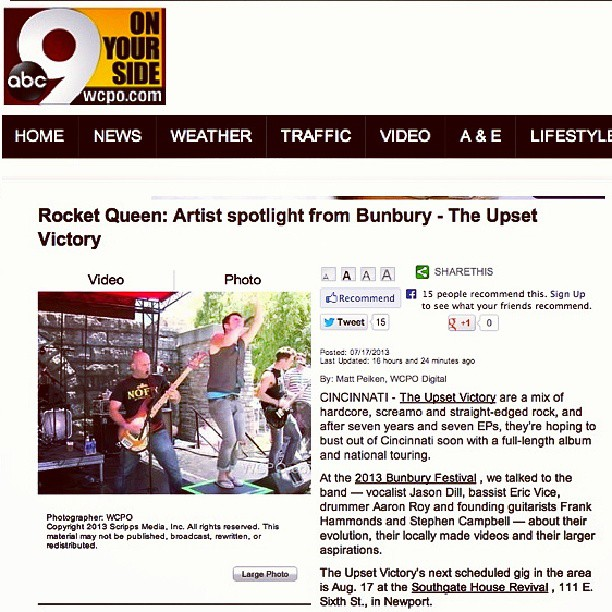 Feels great to get some hometown love from WCPO Channel 9! Watch our 'artist spotlight' video feature & interview from this year's @BunburyFestival . Thank you to Matt & @9onyourside ! http://www.wcpo.com/dpp/entertainment/citybeat/rocket-queen-artist-spotlight-from-bunburythe-upset-victory #channel9news #abcnews #ABC #WCPO #news #station #Cincinnati #ohio #cincymusic #feature #interview #video #TV #band #music #rock #pop #musicians #local #DIY #artist #singer #guitarist #bunburyfestival #beefree #spotlight #entertainment #concert #hometown #love #fans #theupsetvictory