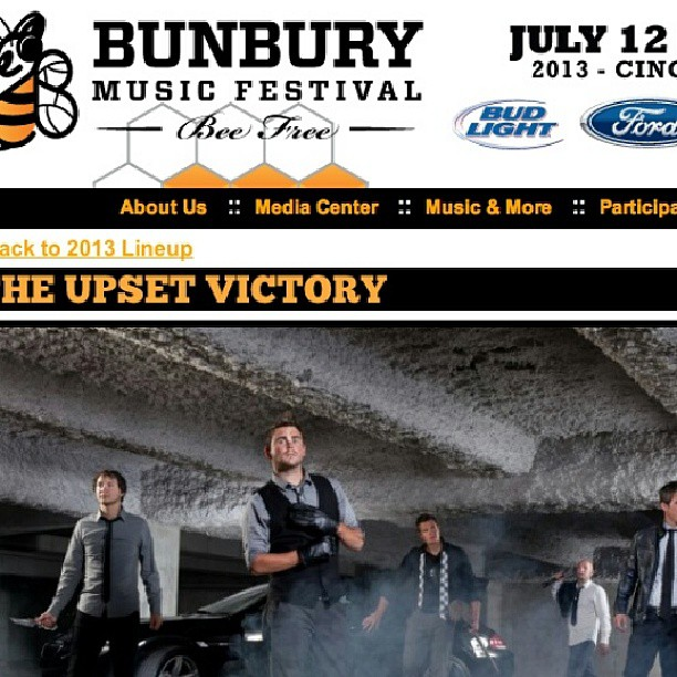 Don't forget to come see us perform THIS Sunday, July, 14th at the Bunbury Music Festival! We hit the Amphitheater Stage at 2:45PM. #Bee there!     Info & tickets:  www.bunburyfestival.com      @bunburyfestival #beefree #bunburyfestival #musicfestivals #concert #live #performance #wallstreet #indieartist #DIY #musicbiz #theupsetvictory #rock #pop #July #summer #amphitheater #Sunday #music #musicians #bands #artists #downtown #Cincinnati #ohio #sawyerpoint #yeatmanscove #tickets