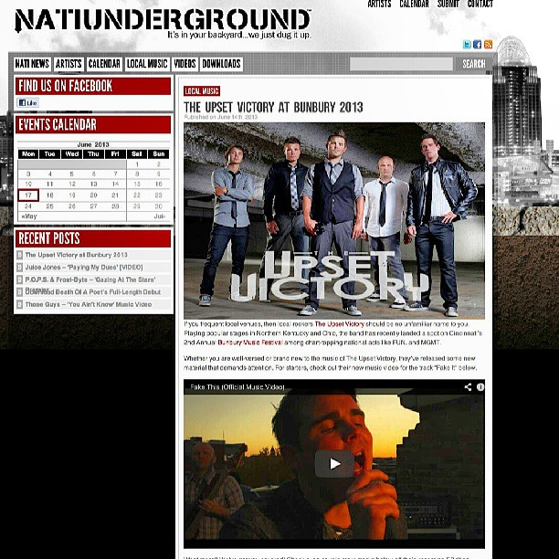 Proud to call Cincinnati our hometown & another great local music website only reaffirms this. Thanks to Nati Underground for featuring TUV! http://natiunderground.com/the-upset-victory-at-bunbury-2013/ #Cincinnati #Ohio #Bunbury #MusicFestival #July #website #feature #rock #music #cincy #music #band #musicians #wallstreet #underground #Nati #blog #hometown #love #downtown #sawyerpoint #support #DIY #indieartist #OTR