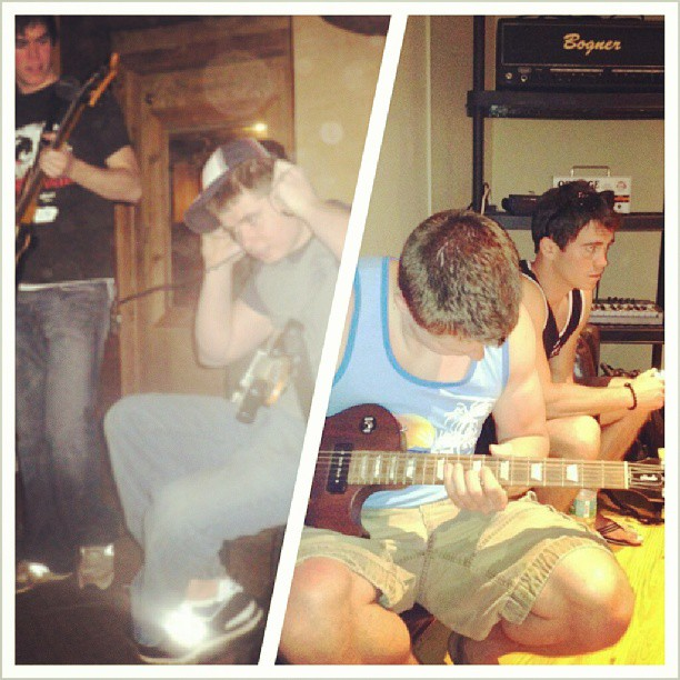 A #throwback photo indeed, honoring #theupsetvictory 's anniversary show tmw night … @frankievictory & I #recording #songs in 2006 that would later become the first @theupsetvictory tunes. And, recording a year ago for the #WallStreet #EP.  Come celebrate with us tomorrow night at The Madison Theater.