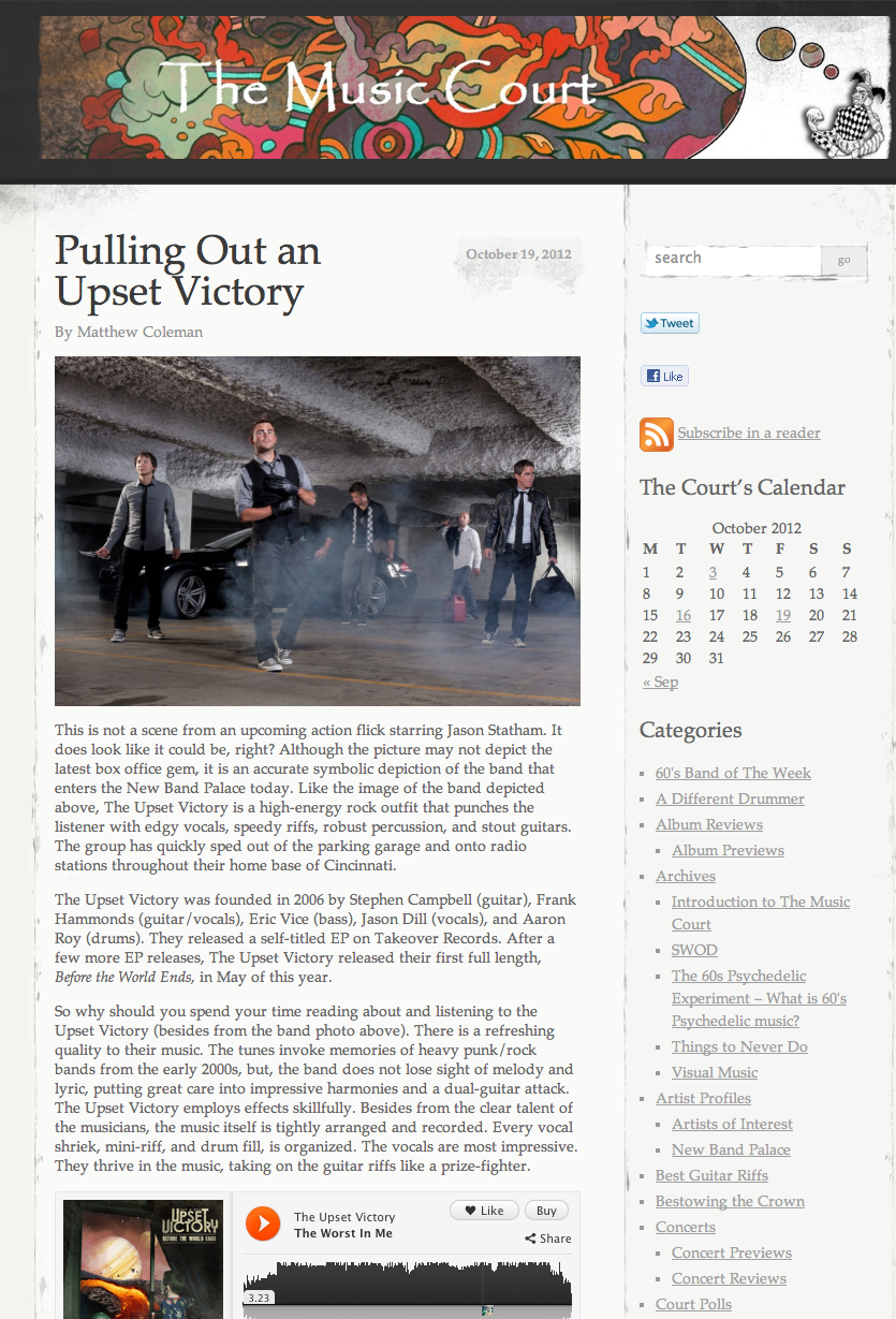 Music Court Blog has written a killer review for TUV. Head over and check it out now! http://musiccourtblog.com/2012/10/19/pulling-out-an-upset-victory/