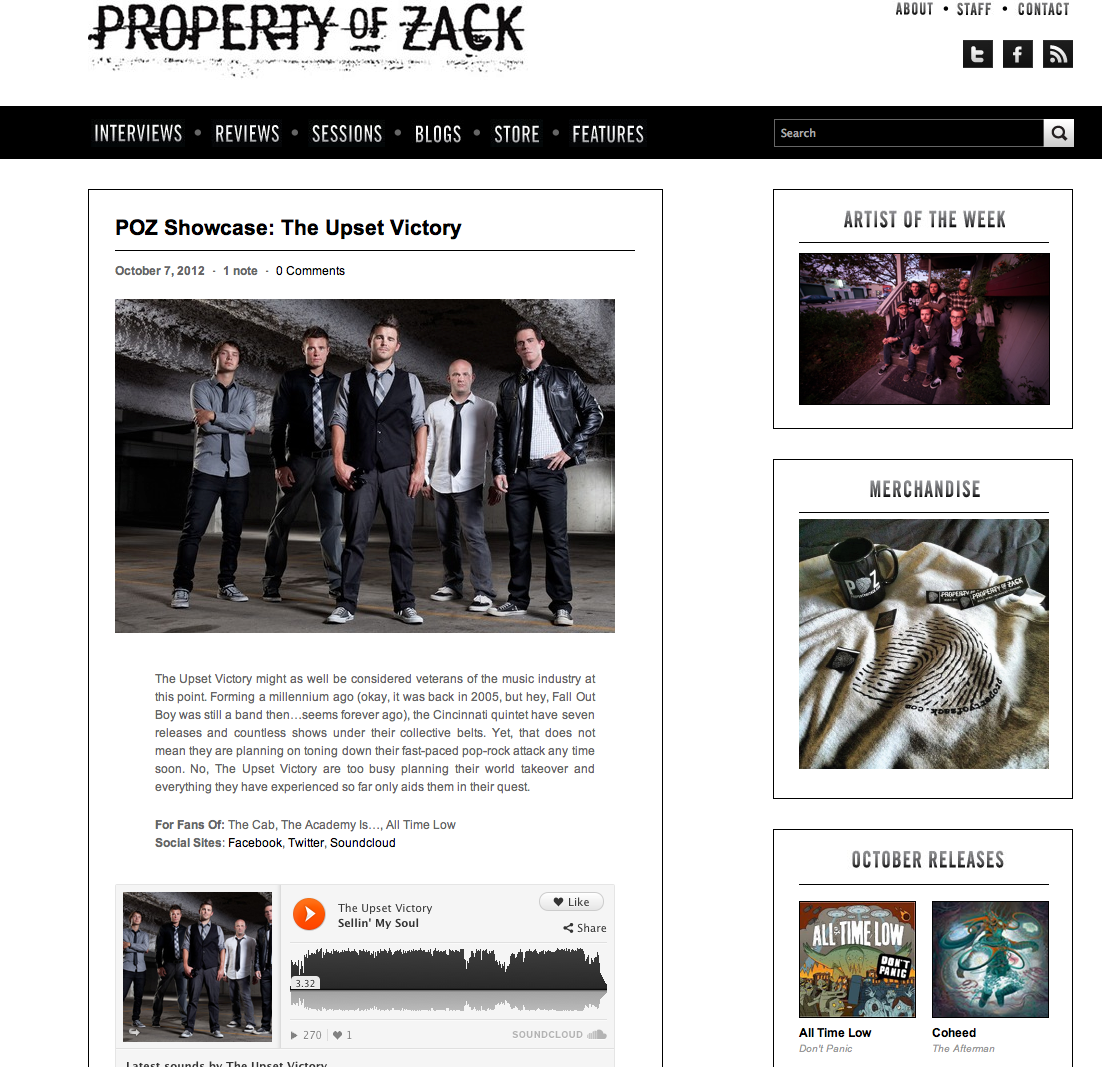 PropertyOfZack has featured TUV this week on their killer music website! Head over & check out our interview… http://propertyofzack.com/post/33105580552/poz-showcase-the-upset-victory