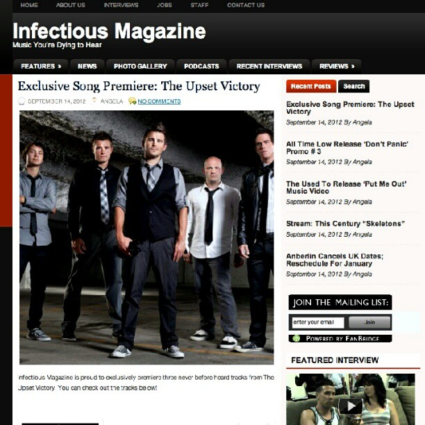 The good people at  Infectious Magazine are doing an exclusive feature on our BRAND NEW songs! Head over and check it out!     http://www.infectiousmagazine.com/uvef/     #theupsetvictory #exclusive #feature #newmusic #infectiousmagazine (Taken with  Instagram )