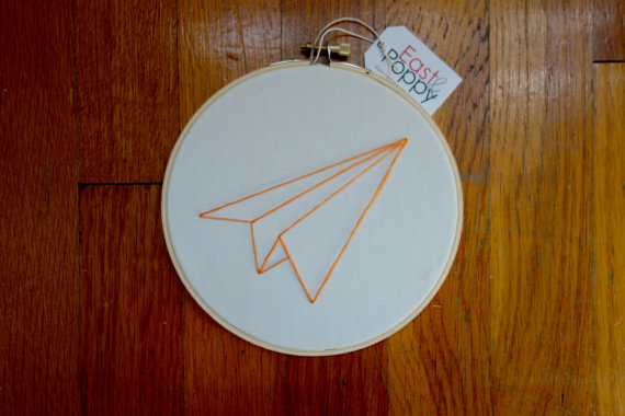 Paper Airplane Embroidery Hoop