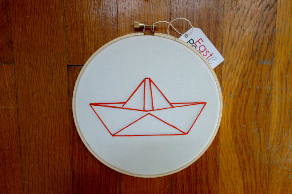 Origami Boat Embroidery Hoop