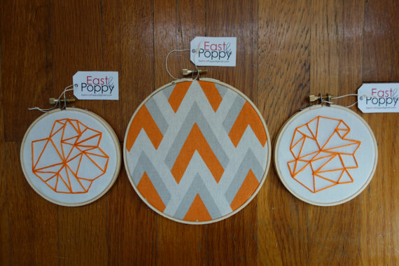 Orange Geometric Embroidery Set