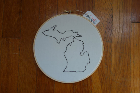 Michigan Embroidered Wall art