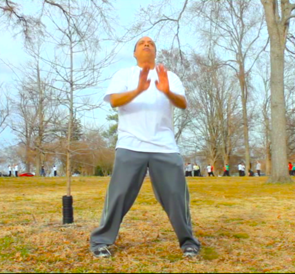 SIEZE THE DAY!!!  Grandmaster Moy Tung, founder of the Richmond Moy Yat Kung Fu Academy, practicing Ving Tsun Kung Fu at the park.