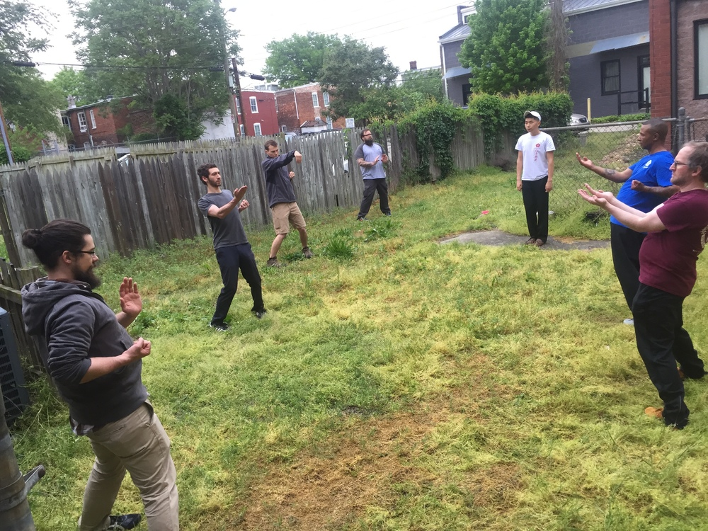 Backyard forms training during the day Friday, April 29, 2016 for the RVA Moy Yat Kung Fu anniversary workshops.