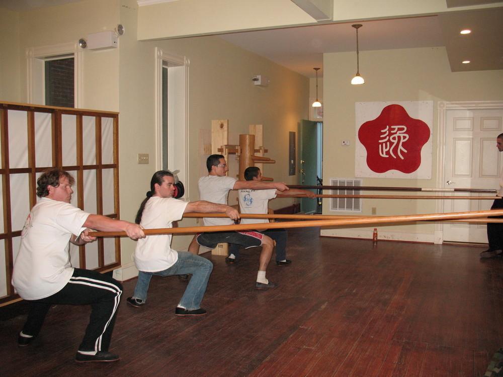 Students doing Biu Kwan at the Richmond Moy Yat Kung Fu Academy