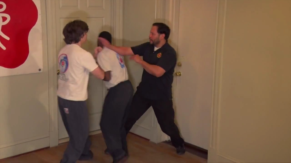 Sifu Barry O'Brien of the Richmond VA West End Academy defending against two attackers.