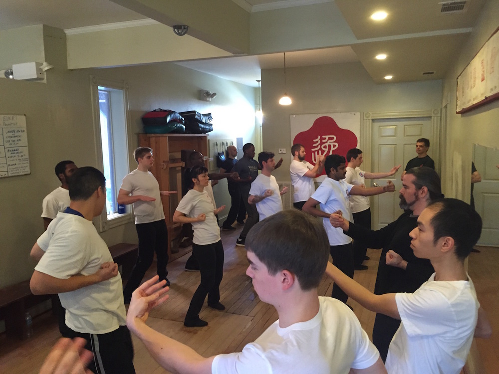 Students playing the Siu Nim Tao form at Moy Yat Kung Fu RVA