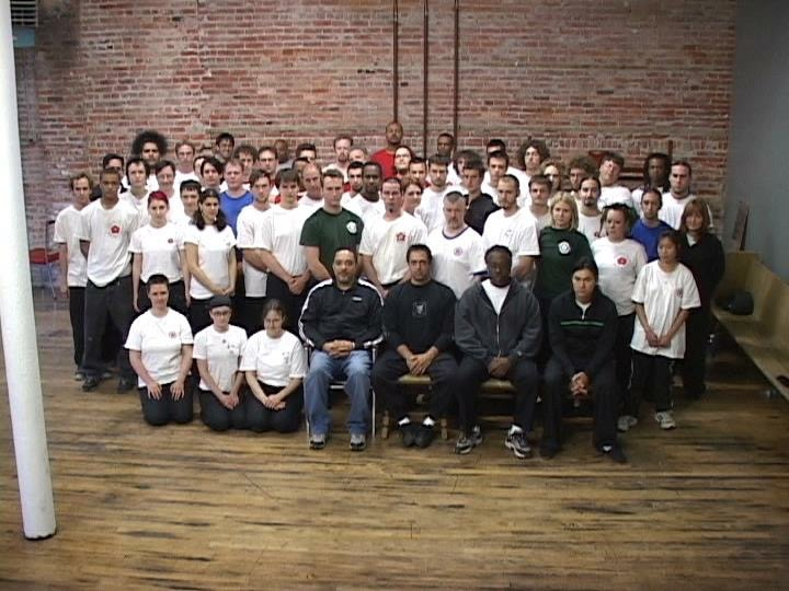 Group photo with Grandmaster Moy Tung and his kung fu lineage at the grand-opening seminar of the Detroit Kung Fu Academy.