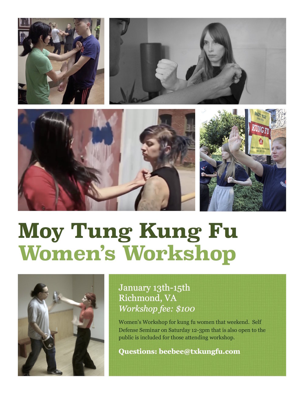 Moy Tung Kung Fu Women's Program workshop January 2017 at the Richmond Moy Yat Kung Fu Academy - teaching the Ving Tsun (wing chun) system of martial arts for self-defense