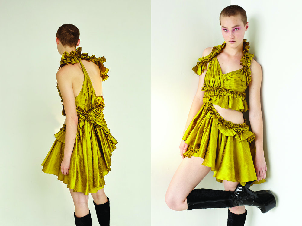 kelsey randall gold citrine raw silk shantung asymmetrical ruffle cut out draped gathered mini dress black patent leather vintage platform boots