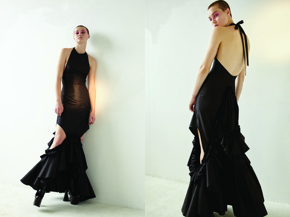 kelsey randall black silk taffeta ruffle side cut out gown halter back high neck flounces drama red carpet