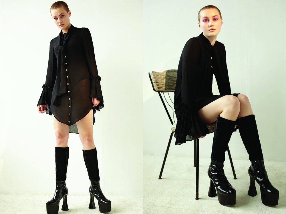 kelsey randall black crinkle silk chiffon blouse shirt dress pussy bow blouse long neck tie flounce sleeve sheer top black patent leather platform vintage boots