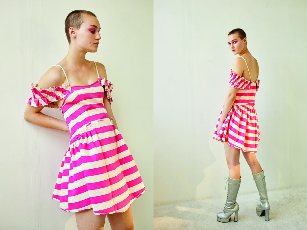 kelsey randall pink striped cotton canvas ruffle shoulder jumper dress nautical rope strap silver sparkle glitter platform vintage boots