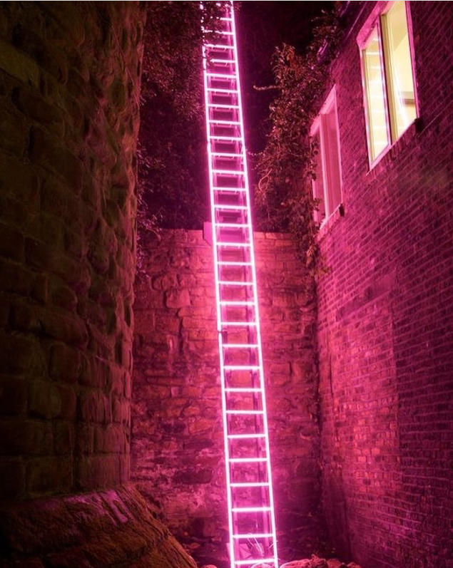 neon ladder by Ron Haselden, Lumiere Durham 2009