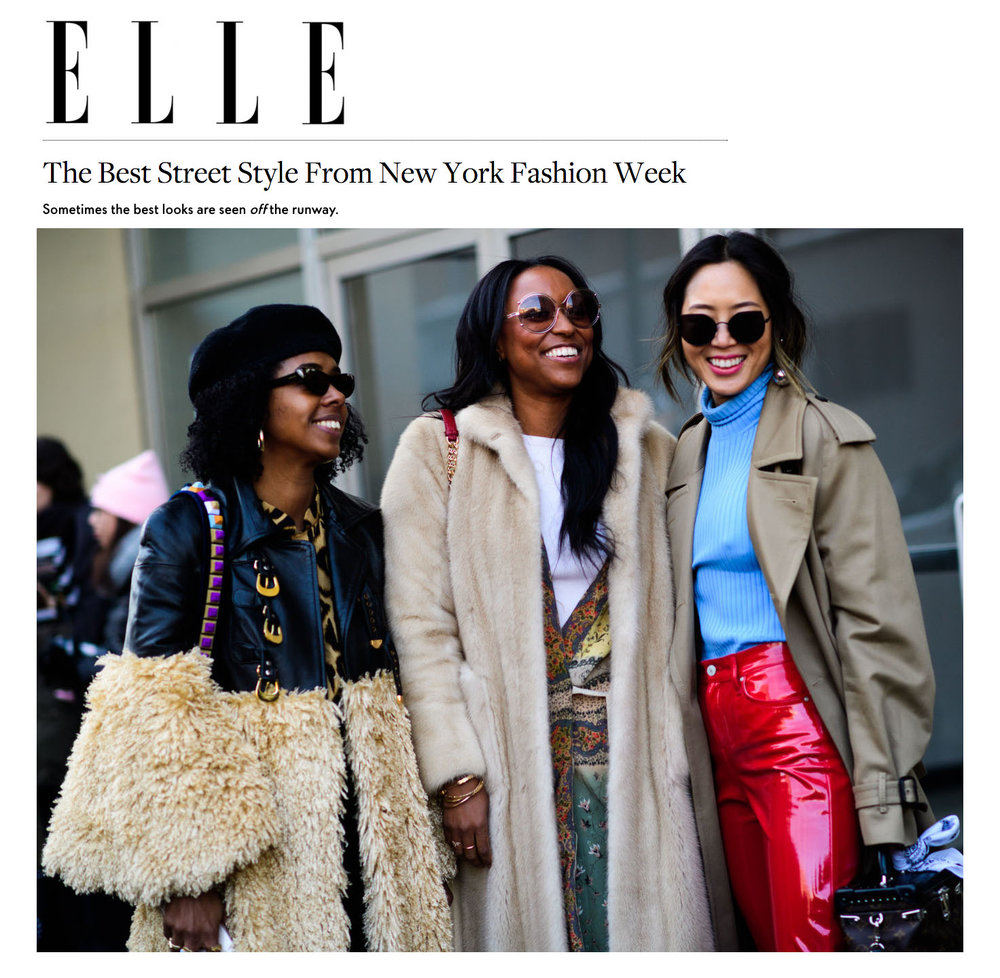 Allure Magazine Elle Best dressed NYFW street style fashion week february fashion show runway kelsey randall leather and faux fur coat gold buckles hardware round shoulder bell sleeve beret sunglasses red patent leather vinyl pants sunglasses blue turtleneck trench coat   made-to-measure womenswear bridal custom bespoke handcrafted sustainable ethical local production manufacturing made in new york city nyc brooklyn bushwick emerging designer ones to watch new talent rising star best of american fashion young designer