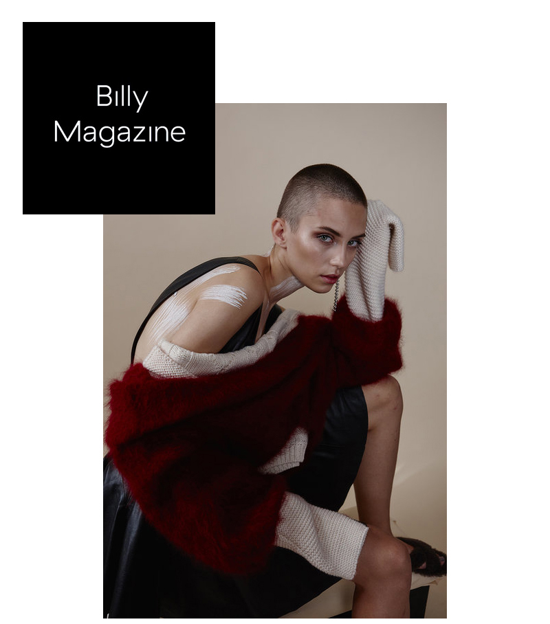 Billy Magazine print issue fashion editorial feature Kelsey Randall black leather jumper dress mohair sweater body paint beauty makeup shaved head model Cleo Cwiek styling Julie Brooke Williams photography  Bec Lorrimer makeup Erin Green made-to-measure luxury bespoke custom special unique sustainable ethical made in New York City NYC Brooklyn Bushwick handcrafted