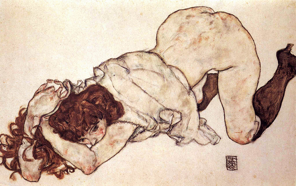 'Kneeling Girl, Resting on Both Elbows' drawing by Egon Schiele, 1917