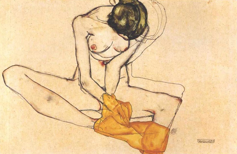 Egon Schiele 'girl with yellow scarf' 1910