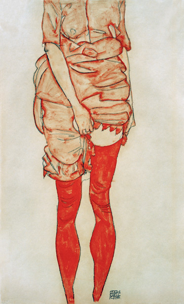 Standing  Woman in Red , 1913 by  Egon Schiele