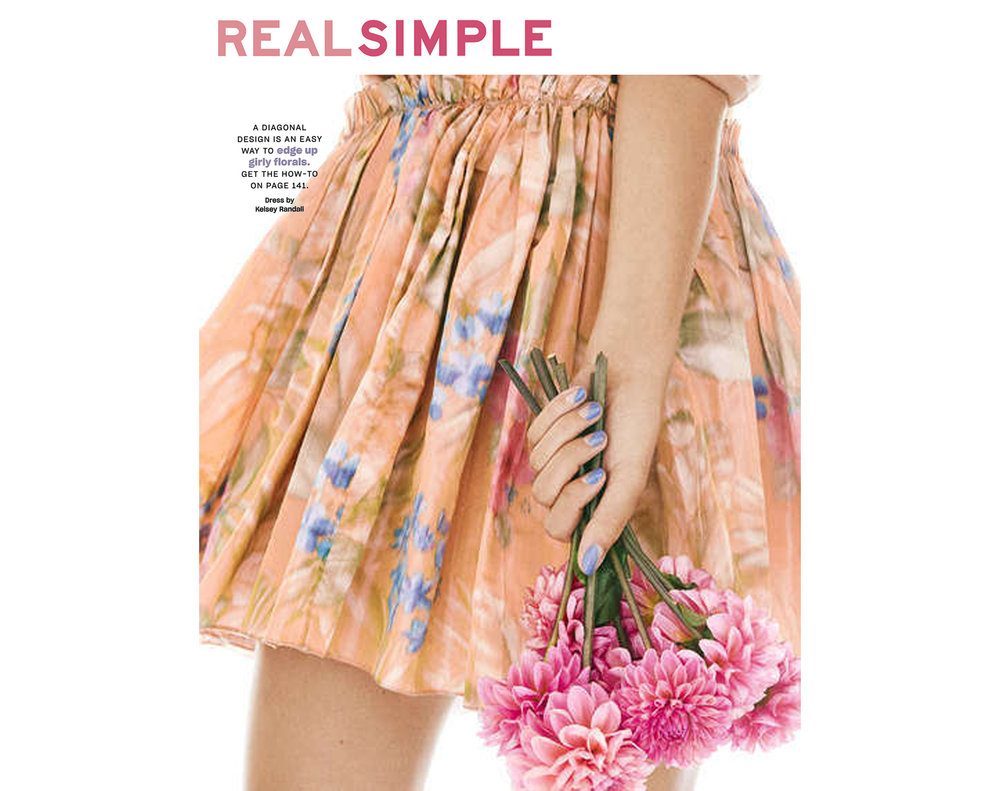 Real Simple Magazine Southern Living beauty story fashion editorial nail tutorial Kelsey Randall warp woven Italian silk taffeta floral print party dress made-to-measure custom luxury womenswear bespoke made in New York City NYC Brooklyn Bushwick sustainable ethical handcrafted local production photography Victoria Pearson styling Sue Choi