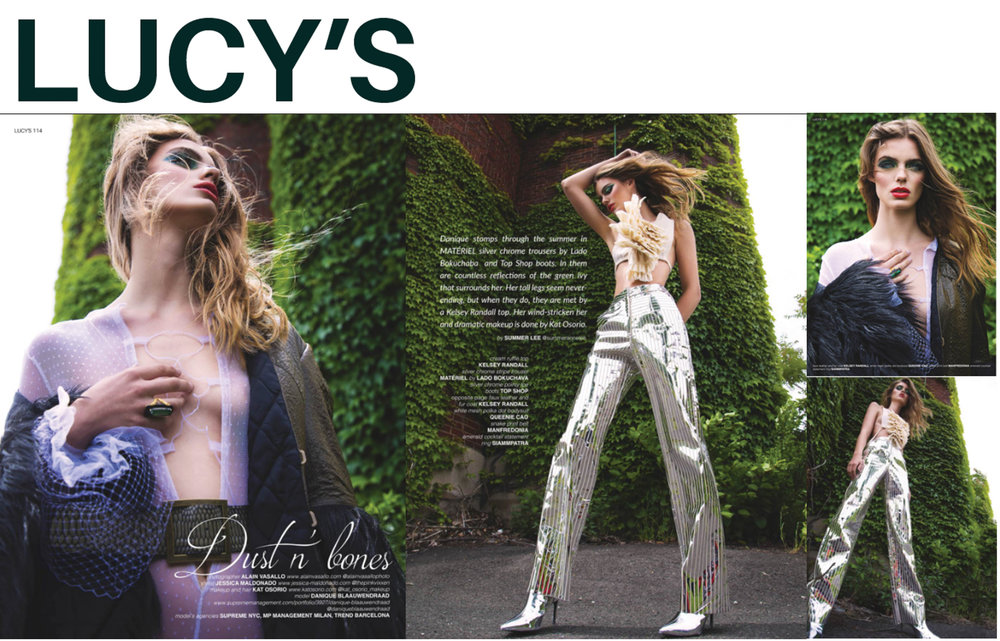 Lucy's Magazine fashion editorial cover shoot dark green olive army quilted silk black faux fur coat detachable collar cream flannel muslin ruffle dickie top crop sequin silver metallic pants Kelsey Randall made-to-measure sustainable ethical fashion womenswear luxury bespoke custom made in New York City Brooklyn NYC Bushwick handcrafted photography Alain Vasallo Jessica Maldonado supreme management models Danique Blaauwendraad disco 70's fashion retro cool emerging designer ones to watch