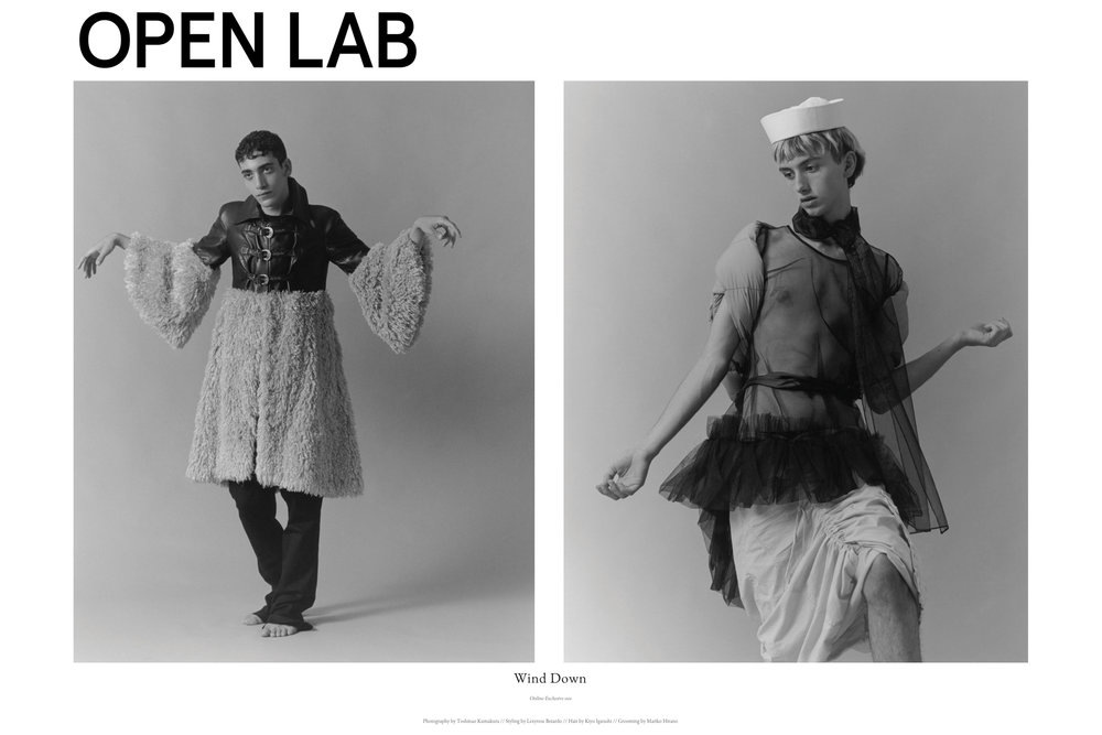 open lab magazine editorial menswear gender neutral genderqueer boys in girls clothes celebration fashion photography black and white film wind down gathered drawstring skirt linen black tulle sheer babydoll blouse dress belted gathered ruffle puff cloud sailor hat black jeans bare feet black leather rounded shoulder faux fur camel cream light curly mongolian lamb curly hardware buckles  70's style retro daywear sportswear seventies hipster cool stylist made-to-measure womenswear bridal custom bespoke handcrafted sustainable ethical local production manufacturing made in new york city nyc brooklyn bushwick emerging designer ones to watch new talent rising star best of american fashion young designer stylist lexyrose weird pose awkward sweet grooming mariko hirano hair kiyo igarashi
