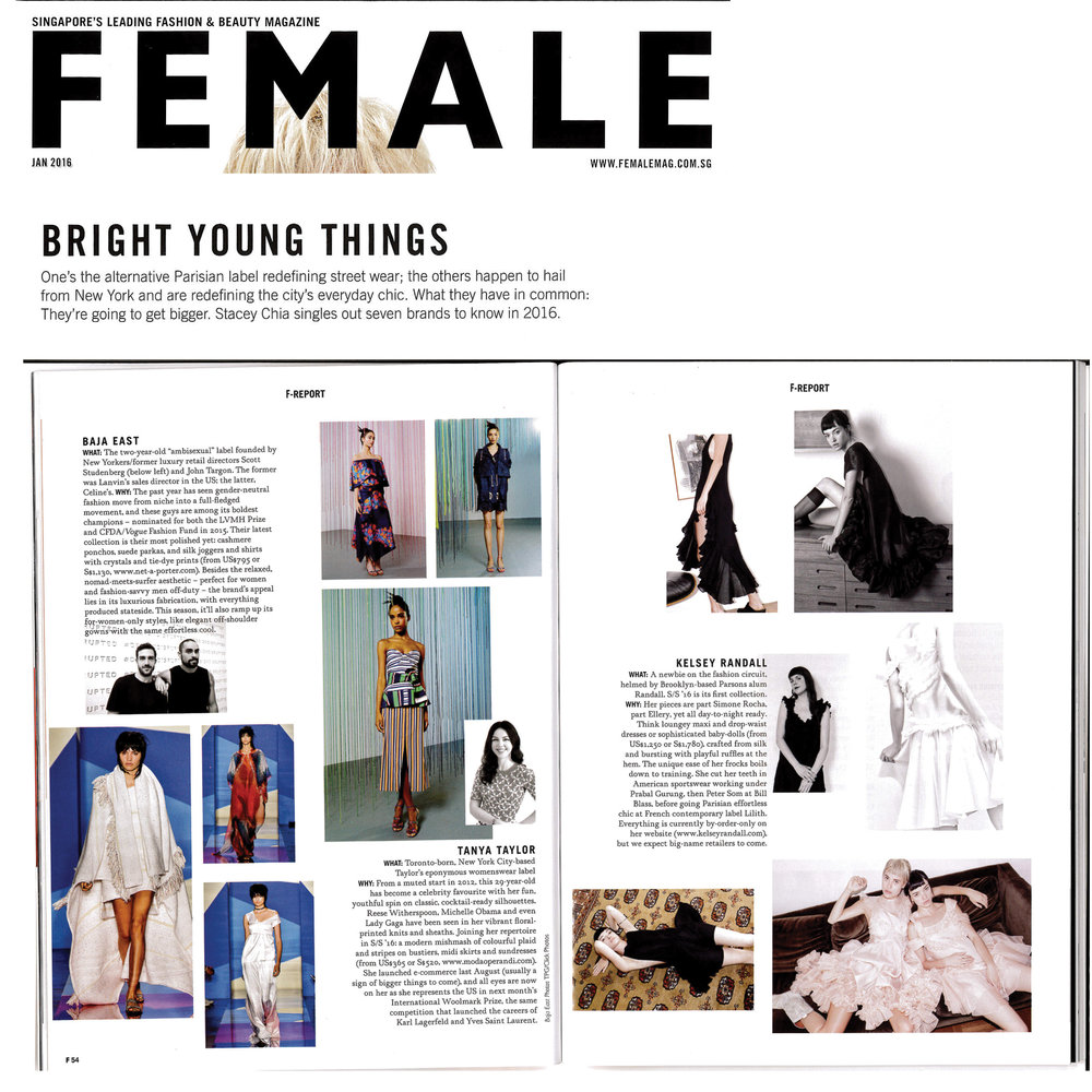 female magazine paul andrew vetements baja east tanya taylor kelsey randall 70's style retro daywear sportswear seventies hipster cool stylist made-to-measure womenswear bridal custom bespoke handcrafted sustainable ethical local production manufacturing made in new york city nyc brooklyn bushwick emerging designer ones to watch new talent rising star best of american fashion young designer  ballet pink blush peach organza ruffle dress cowboy boots mermaid cinderella princess ruffle scalloped hem cupcake fluff cute black crinkled chiffon gathered mini dress low cut sides white silk shantung asymmetrical ruffle dress circle skirt bridesmaid black taffeta babydoll cloud swing dress short cap sleeve flounce romantic dreamy bright  70's style retro daywear sportswear seventies hipster cool stylist made-to-measure womenswear bridal custom bespoke handcrafted sustainable ethical local production manufacturing made in new york city nyc brooklyn bushwick emerging designer ones to watch new talent rising star best of american fashion young designer