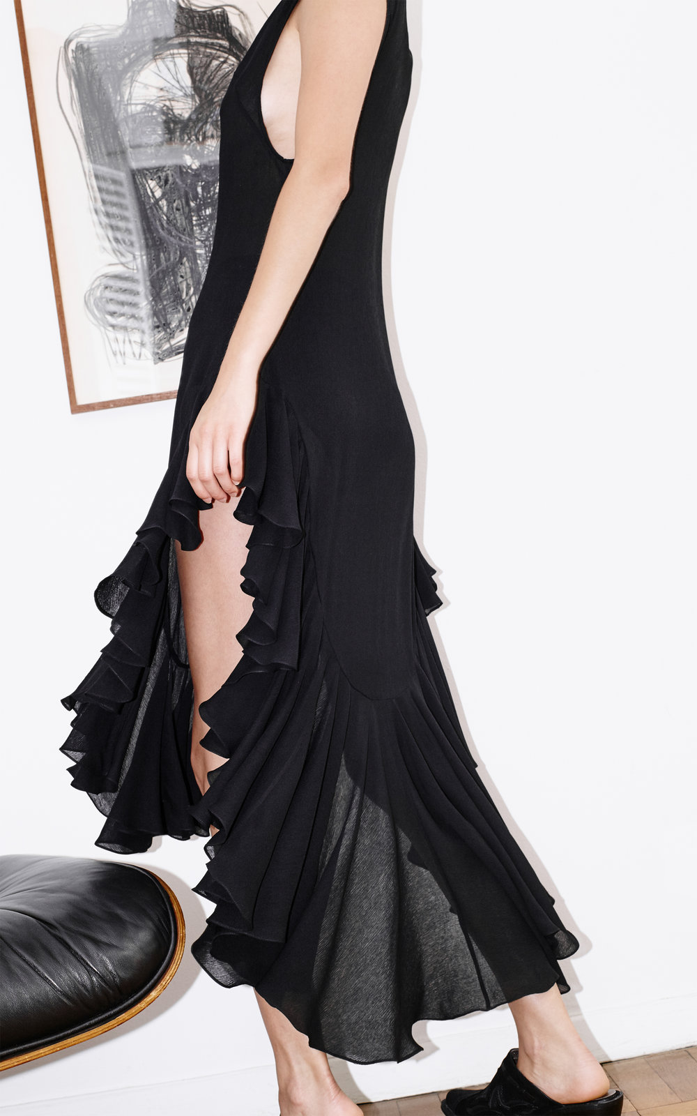 kelsey randall black silk chiffon ruffle flounce hem salsa dress sheet crinkle black silk organza long dress high-low hem