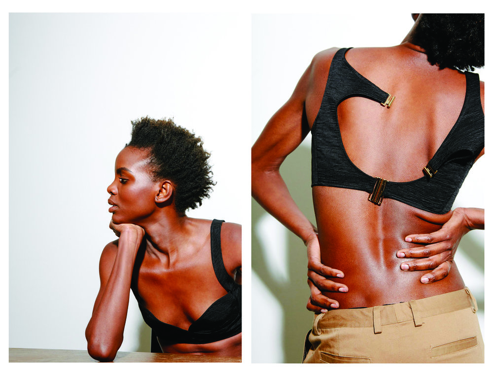 kelsey randall black silk faille bra top cut out back gold hardware minimalist helmut lang