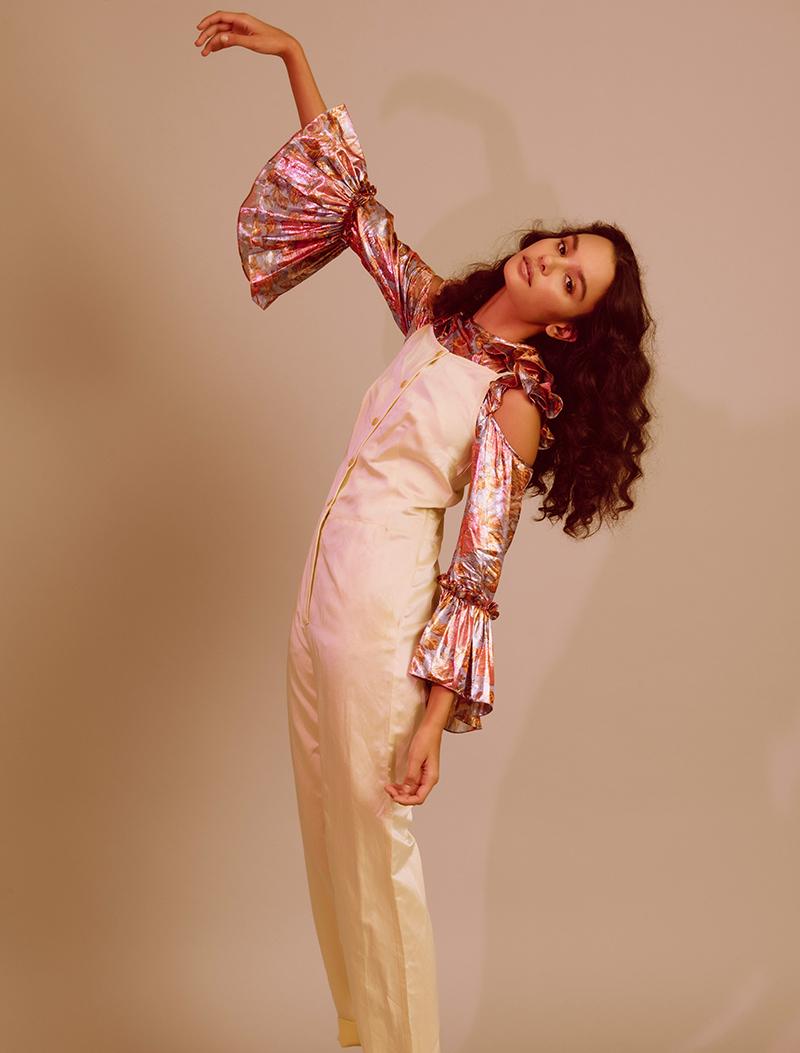 kelsey randall floral silk lamé lurex pink purple silver ruffle long sleeve flounce hem cold shoulder button back blouse top shirt
