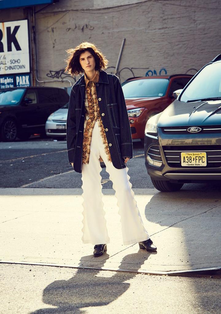 Nylon Magazine Kelsey Randall Urban Cowboy ruffle front linen cream camel brown copper button down blouse top denim jacket