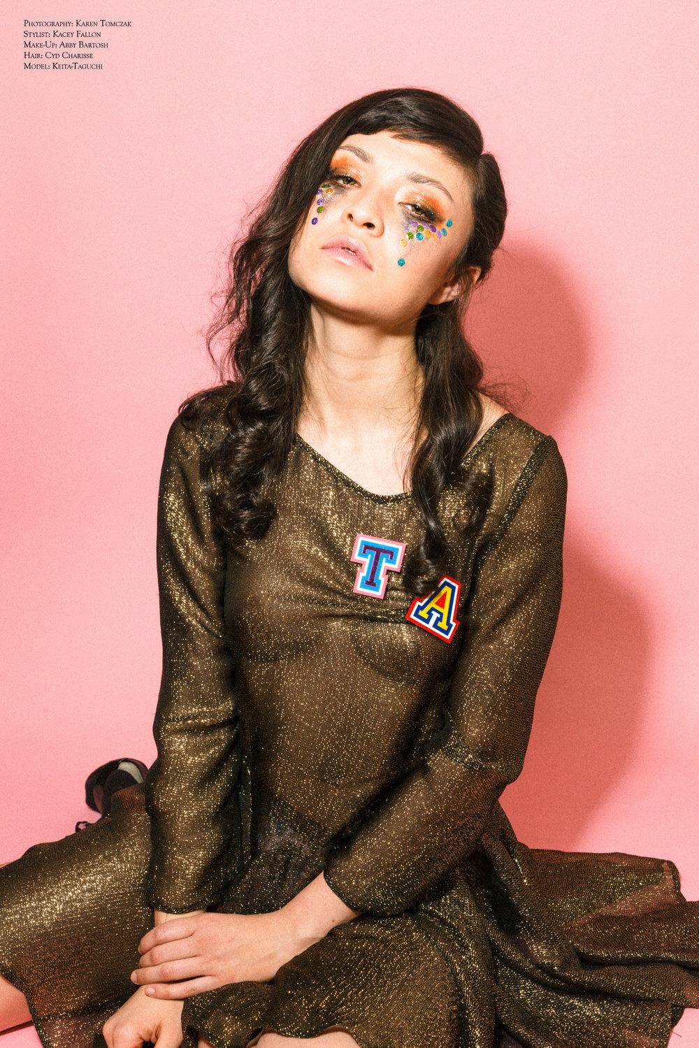 Kelsey Randall gold silk lurex chiffon long sleeve godet dress