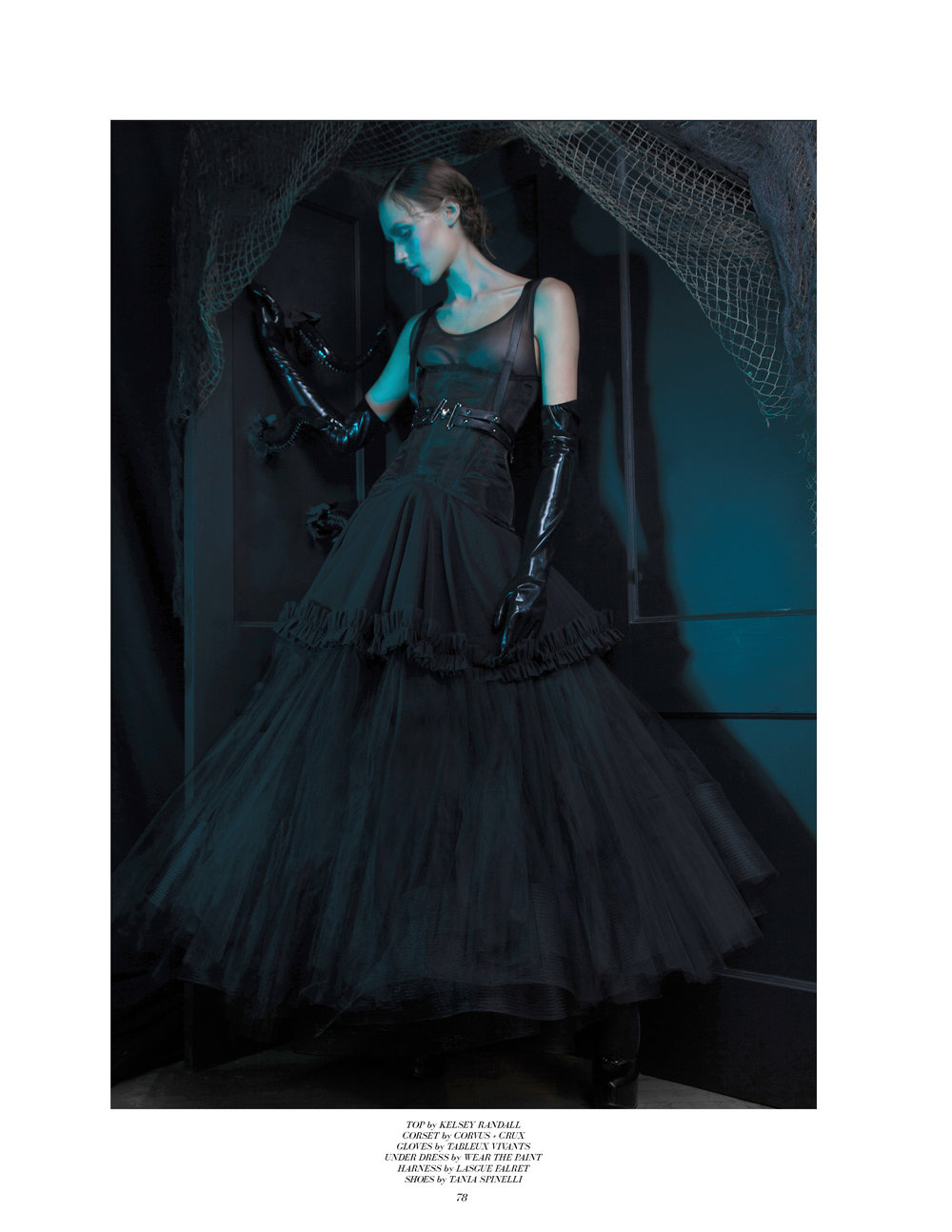 style noir magazine editorial featuring kelsey randall black mesh crinoline dress sheer ruffle hem godets